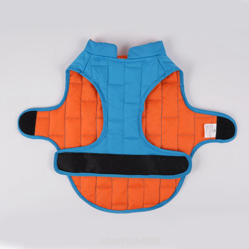 Dog Clothes Reflective Back Zipper Jacket Pet Coat Puppy Autumn Winter Check Pattern Bicolor Cotton Layer