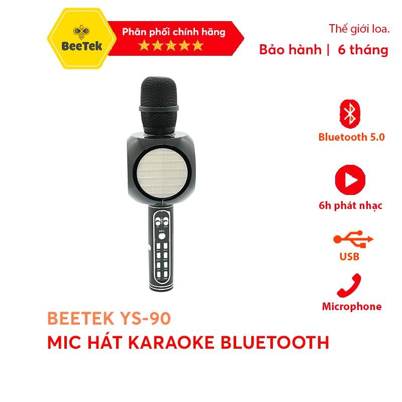 Mic Karaoke Blutooth/Mic hát Beetek YS90 -Tích hợp loa trên thân mic không dây, Siêu bass, Bắt giọng chỉnh tone, Ghi âm