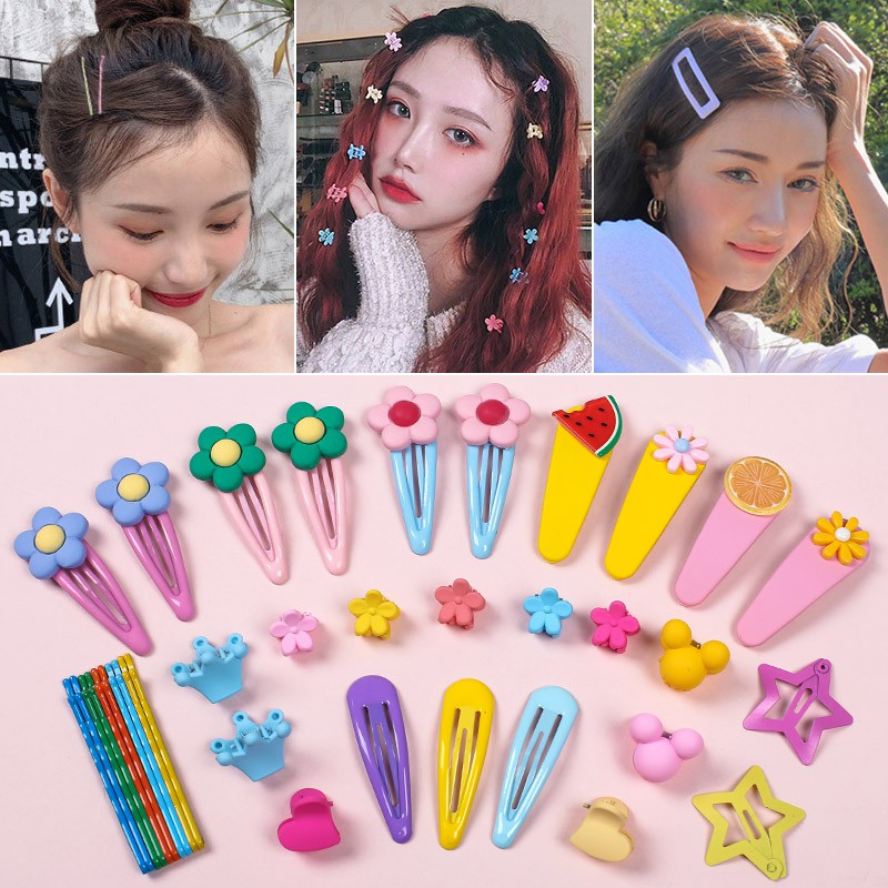olor side female Korean net red children ins bangs hairpin headdress candy small hair clip bb clip tahaya09taha 5 prices