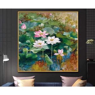 Tranh canvas Hoa Sen 70×70 giá kèm khung