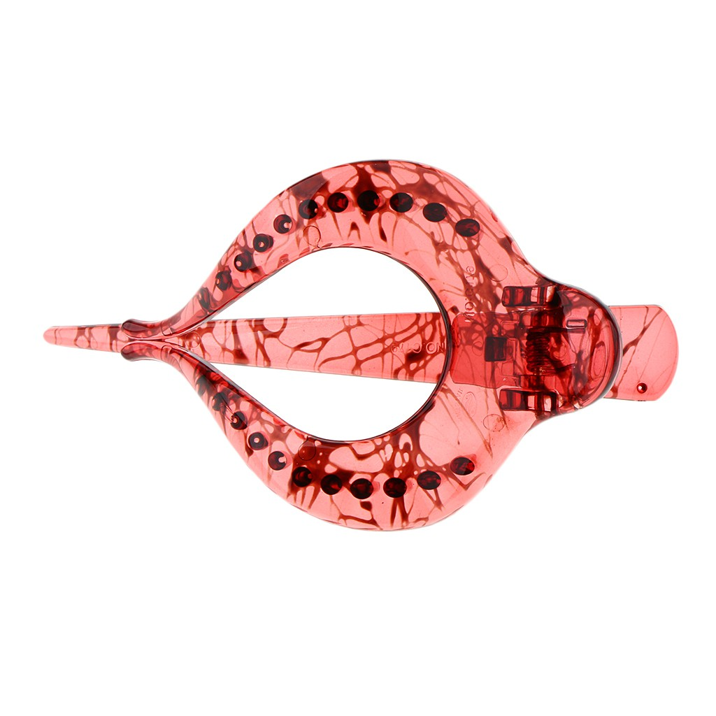 Large Heart Shaped Acrylic Hair Claw Banana Clip Clamp Jaw Light Red