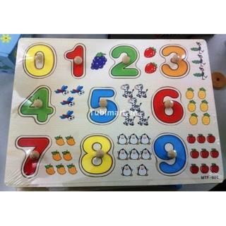 Bảng chữ cái có núm kèm bảng 10 số đếm có núm cho bé
