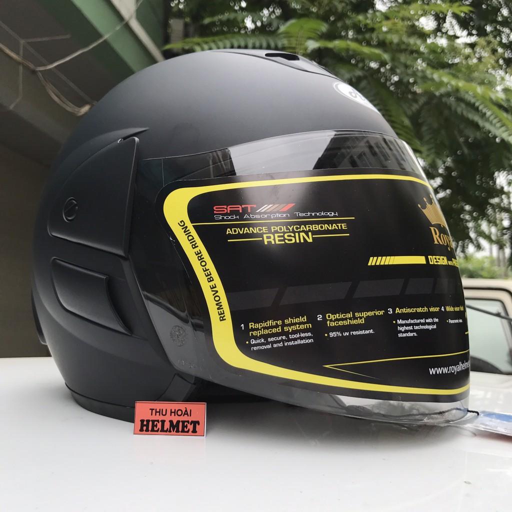 Mũ bảo hiểm Asia 119 đen nhám kính trà