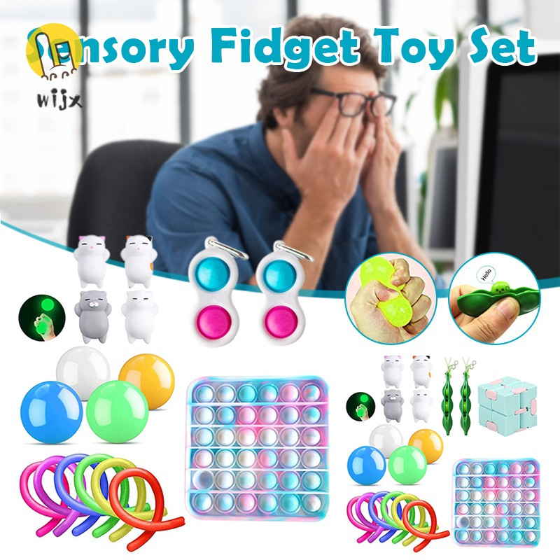 WiJx Sensory Fidget Toy Set Stress Relief and Anti Anxiety Pack for Teenage Children Adults Hand Toy Anti Stress .VN