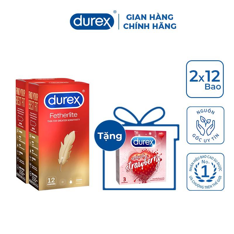 Bộ 2 Bao cao su Durex Fetherlite (12 bao/hộp) + Tặng 1 hộp Durex Sensual Strawberry (3 bao/hộp)