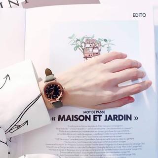 (Giá Sỉ) Đồng hồ thời trang nữ VISER dây da nhung kính khối 3d QR212