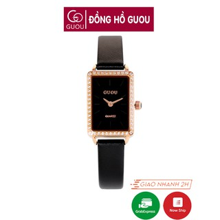 [Mã FASHIONRNK giảm 10K đơn 50K] Đồng hồ nữ đeo tay dây da Guou mặt vuông đính đá chính hãng chống nước tuyệt đối 6635 thumbnail
