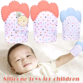 1 Pair Soothing Teething Mitten Silicone Baby Teether Mitten Stimulating Teether Toy Self Soothing Pain Relief Mitt
