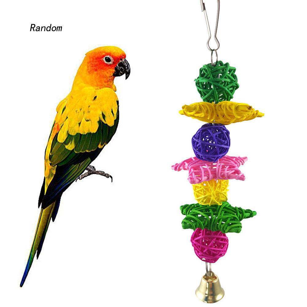 [RA]Parrot Toy Vine Rattan Ball Ring Bell Swing Bird Parakeet Hanging Pet Cage Decor