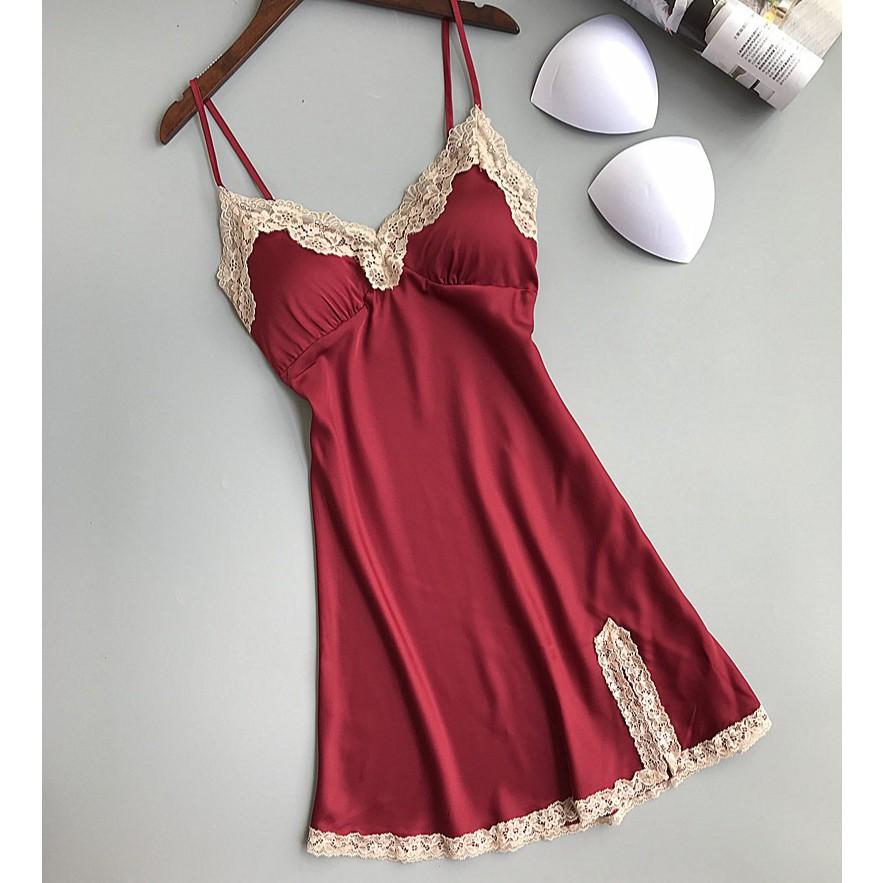 Váy ngủ lụa viền ren có đệm ngực