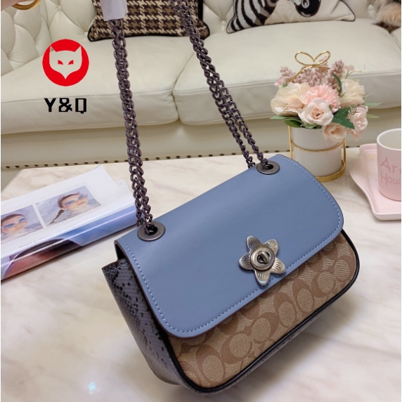 Promo Coach Women Classic Printing Leather Handbag Blue Travel Bag Fashion Shoulder Bag