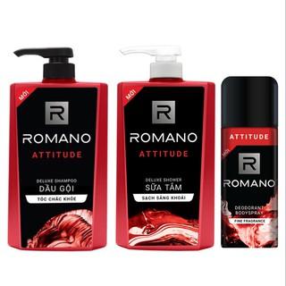 Combo Romano Attitude: 1 chai Dầu Gội 650g + 1 chai Sữa Tắm 650g + 1 Xịt khử mùi toàn thân 150ml