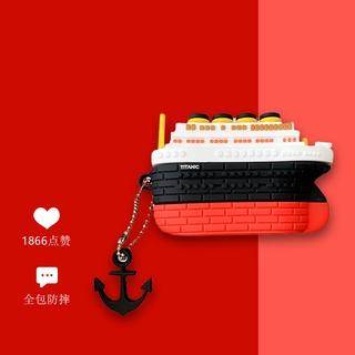 Vỏ Bảo Vệ Hộp Sạc Tai Nghe Airpods 1 / 2 / Pro / 3 Hình Tàu Titanic Có Dây Đeo Chống Thất Lạc
