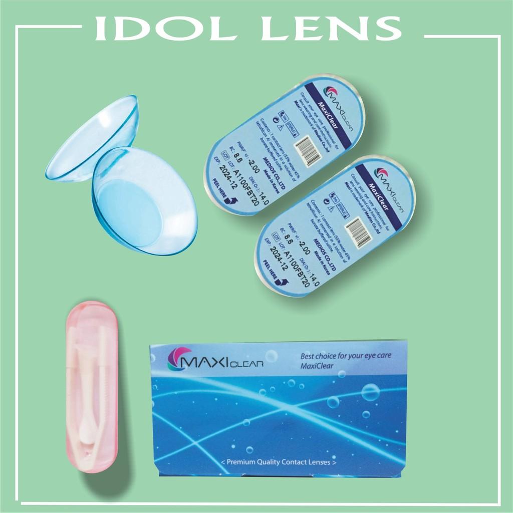 Combo lens cận không màu, nước ngâm lens 360ml TẶNG gắp lens, khay ngâm lens (Dung dịch ngâm chai lớn...