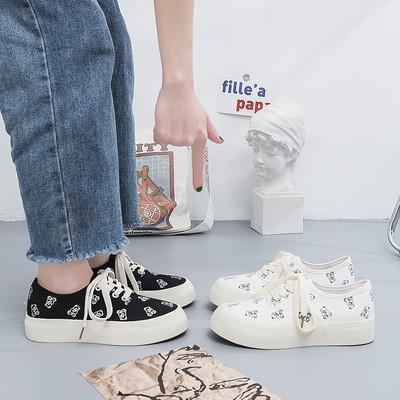 Giày thể thao ulzzang nữ đế bánh mì học sinh họa tiết gấu