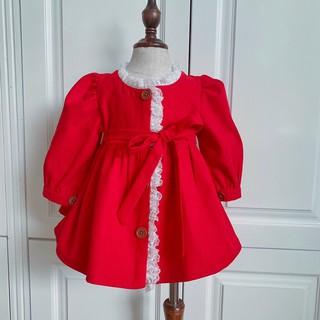 váy đầm bé gái💕𝑭𝑹𝑬𝑬𝑺𝑯𝑰𝑷💕 váy cho bé, đầm đỏ cho bé gái, chất liệu đỏ nhung dễ mặc cho bé
