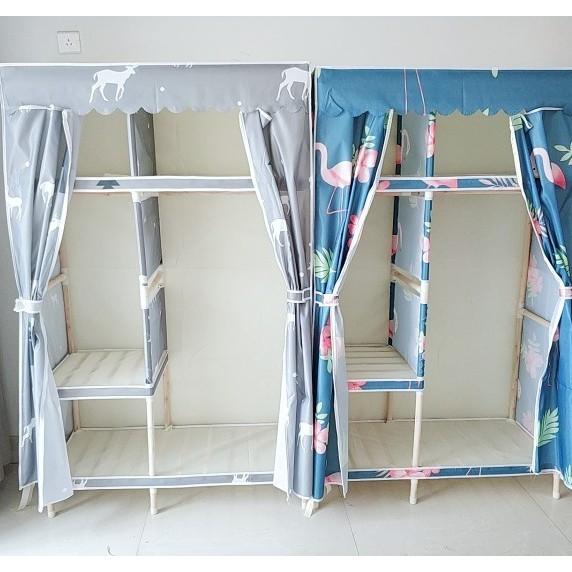 Tủ Vải Đựng Quần Áo Khung Gỗ Bọc Nhựa 2 Buồng cỡ lớn loại 1
