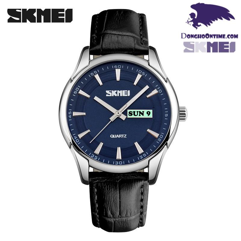 Đồng hồ nam dây da Skmei 9125 (Mặt Đen Kim Vàng)