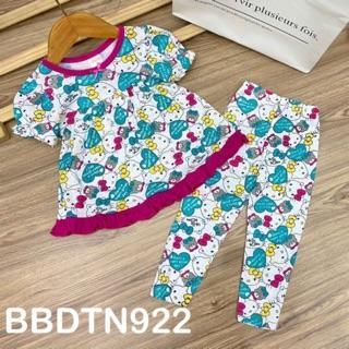 HOT Bộ babydoll tay búp ngắn quần dài thun borip xuất khẩu cho bé từ 11 đến 23kg - Bộ quần áo bé gái