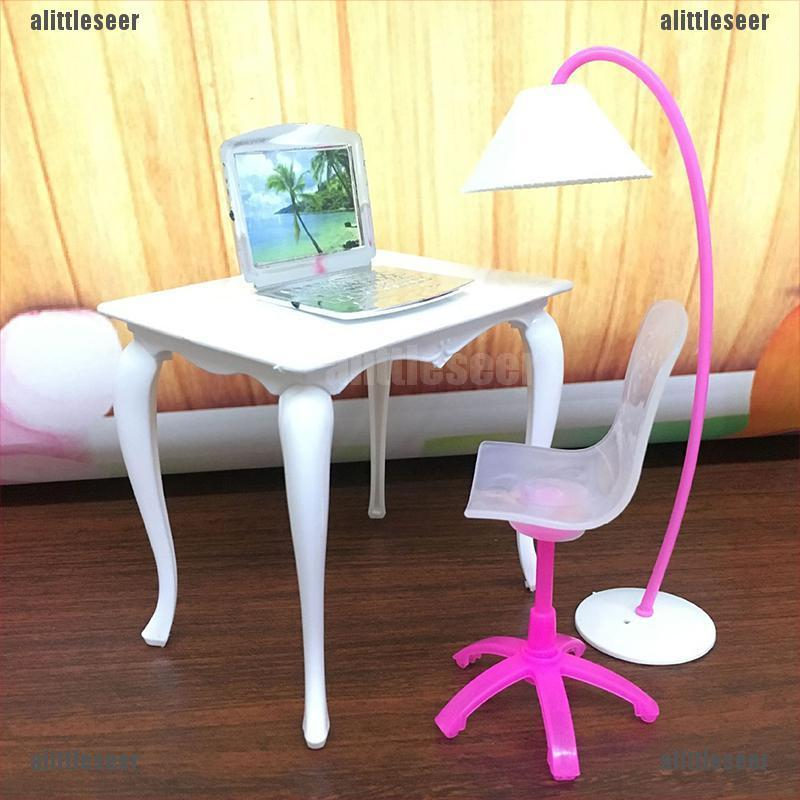 (seer)4Pcs/set toys furniture dolls computer chairs toys office desks toys floor lamps