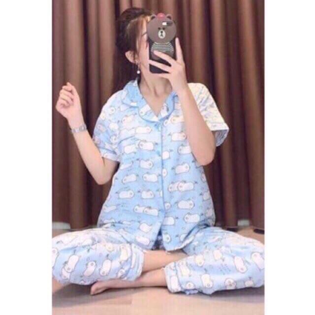 Bộ ngủ pijama quần dài áo cộc mẫu mới