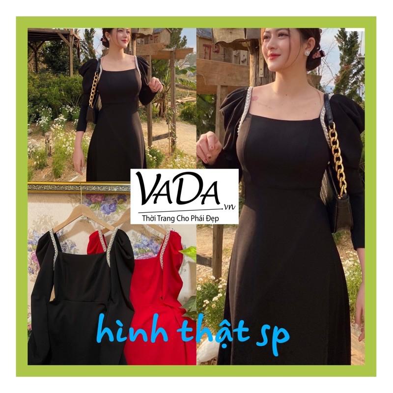 Mặc gì đẹp: Sang chảnh với Đầm dự tiệc dáng xoè tay dài xếp viền nách hạt ngọc xoè nhẹ sang chảnh - Thời trang VADA - Đ100
