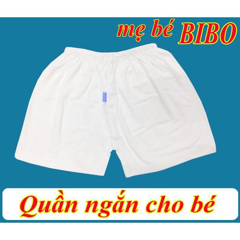 (Chất đẹp)Quần Ngắn Trắng Sơ Sinh Chất Vải Cotton Cho Bé Mặc Nhà Hiệu BOSSINI (3-75KG)
