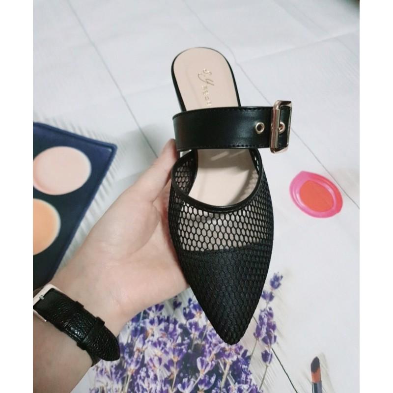 (ảnh thật)giày sục nữ lưới mũi nhọn khoá cài điểm nhấn
