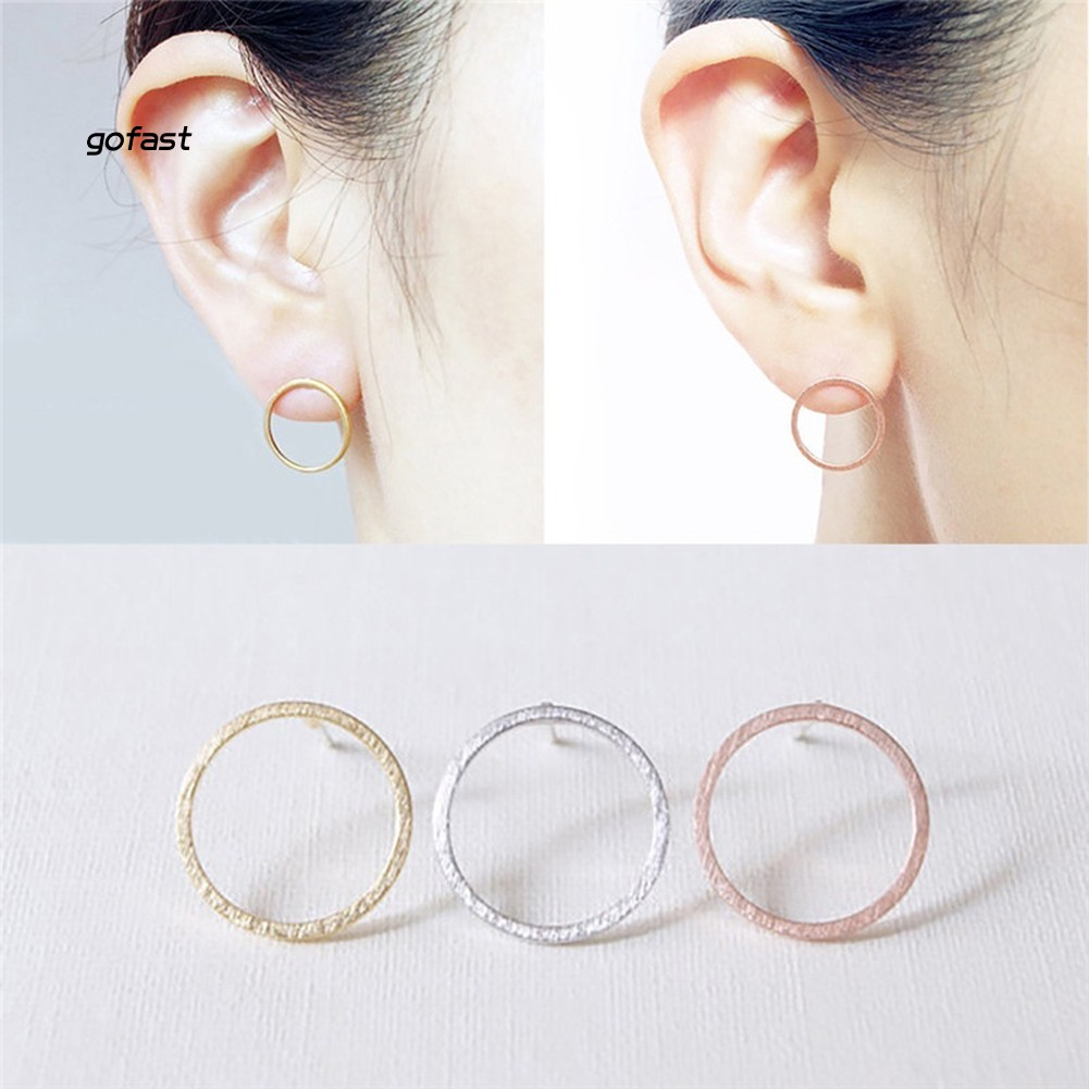 Fashion Simple Hollow Circle Charm Ear Stud Earrings Women Party Jewelry Gift