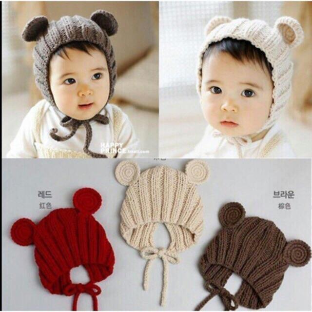 Mũ len tai gấu cho bé