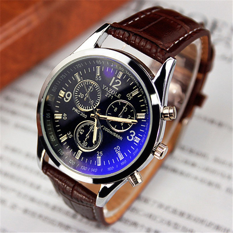 YAZOLE 271 blue glass quartz stainless steel back 3ATM waterproof leather wristwatches