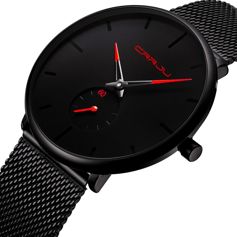 【Hot】 CRRJU 2150 Men Watch Quartz Sport Simple Ultra-Thin Wristwatch Stainless Steel Strap 3ATM