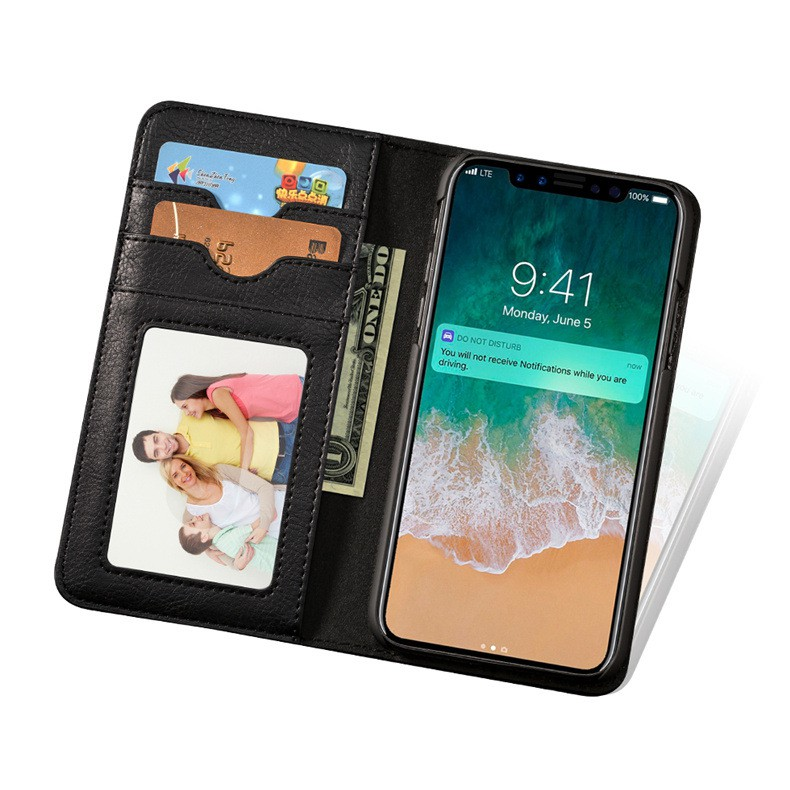 Siêu phẩm thời trang Ốp lưng kiêm ví cầm tay 2 trong 1 cho iPhone X Black