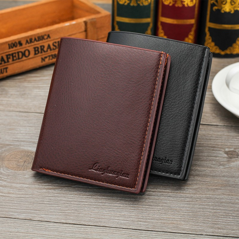 Men's PU Leather Wallet Classic Short Purse Card Holder Ready Stock