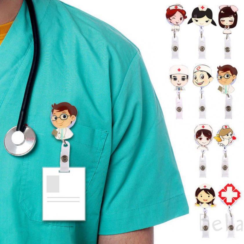 Kẹp gắn túi treo thẻ ID y tá bác sĩ thiết kế hoạt hình ngộ nghĩnh