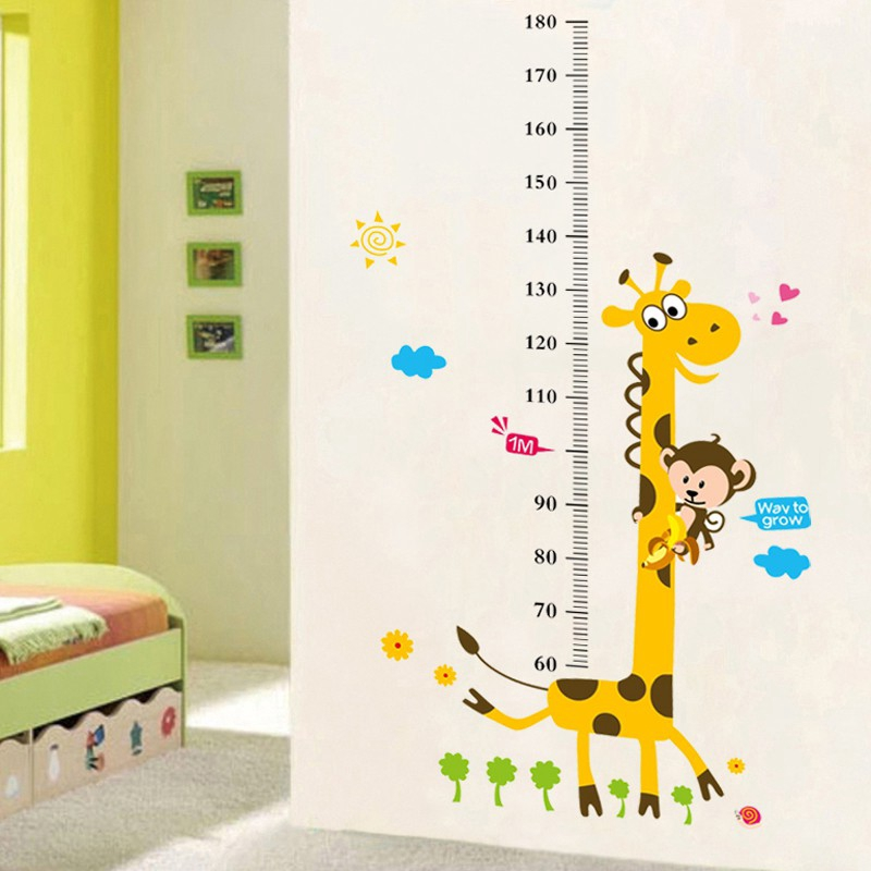 ✳❒Boy room wall Sticker child measurement height self-adhesive removable Home creative decoration cartoon