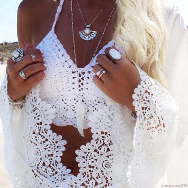 🌟Women Bra Boho Beach Knit Halter Tank Cami Crop Top