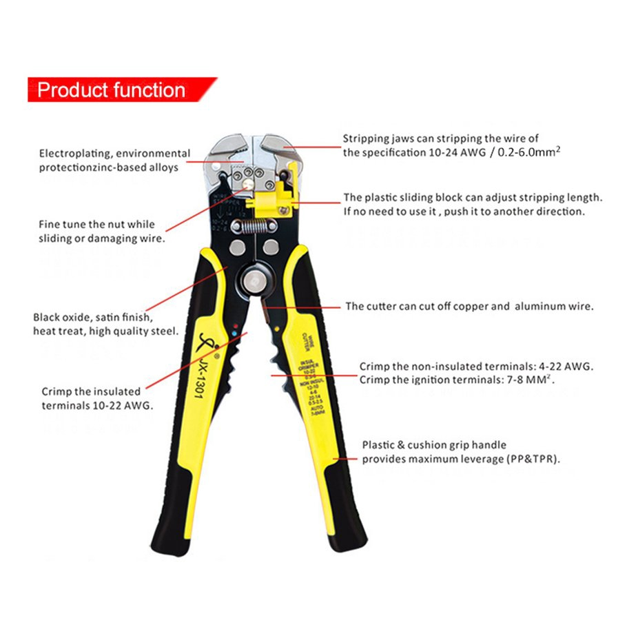 【SYH】JX-1301 Cable Wire Stripper Crimping Tool Peeling Pliers Terminal Cutter