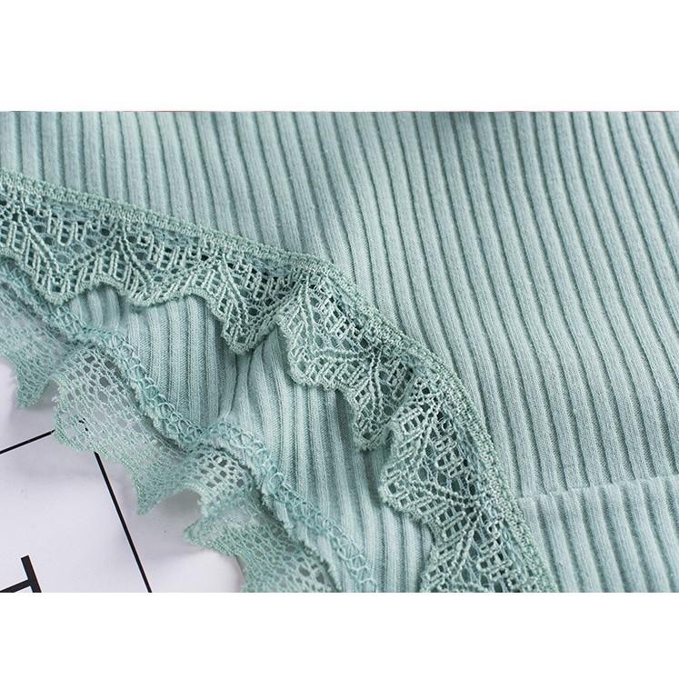 [Set 3 quần] Quần lót nữ cotton hình sợi tre viền ren cao cấp 03 ST01