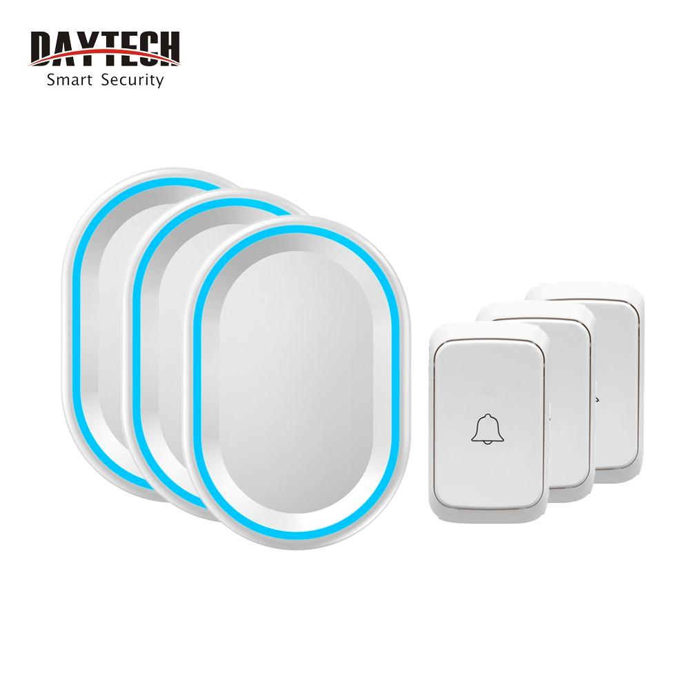 Chuông cửa không dây Daytech DB10WH 58 kiểu nhạc chuông 4 mức âm lượng 3 nút bấm màu trắng với 3 bộ nhận tín hiệu
