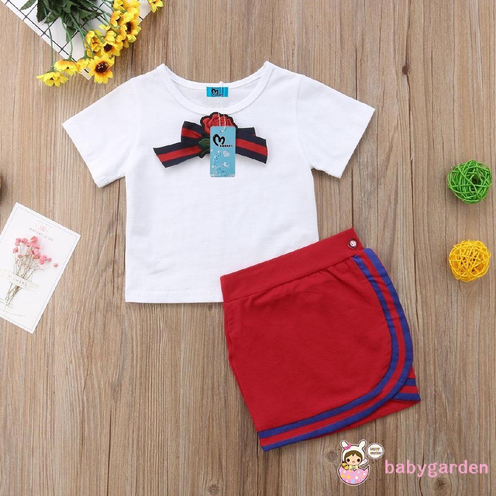 Áo thun ngắn tay họa tiết hoa đáng yêu dành cho bé gái