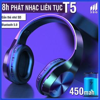 Tai nghe bluetooth không dây T5, tai nghe chụp tai hổ trợ thẻ nhớ + Jack 3.5mm, âm Bass cực đỉnh, giảm ồn cách âm tốt, B
