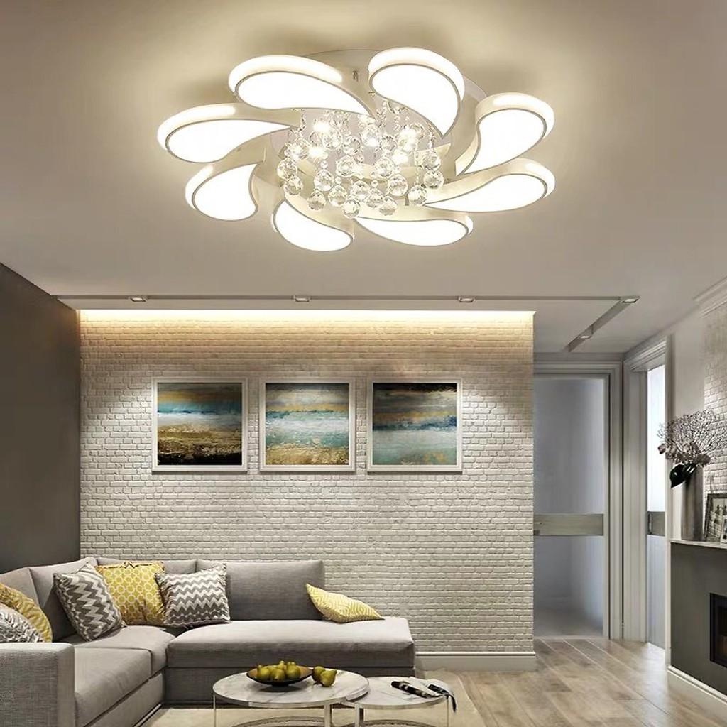 Đèn ốp trần MONSKY hoa lan pha lê trang trí nội thất 3 chế độ sáng có điều khiển từ xa