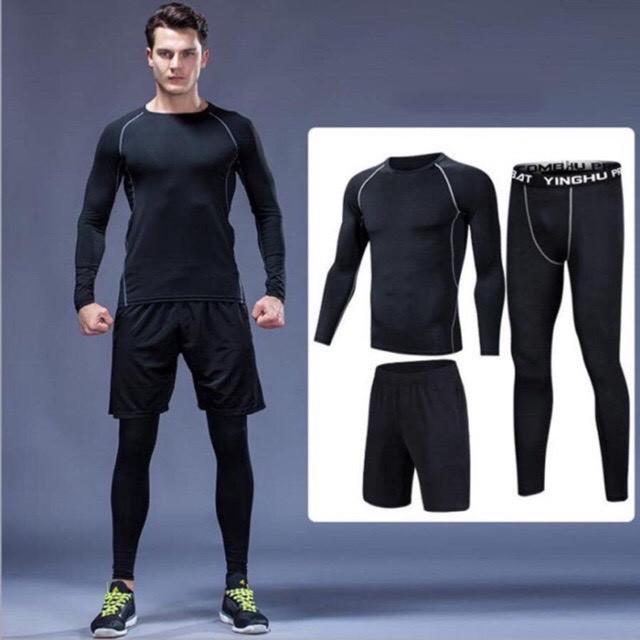 BST bộ quần áo legging co giãn giữ nhiệt tập gym - chạy bộ - đạp xe màu đen