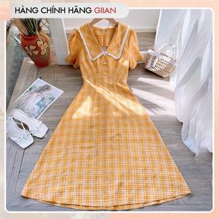 Giian - Đầm xòe kẻ dáng dài, váy dài cổ sen đính ngọc ngực - thiết kế chính hãng - Mine Dress - V2310 thumbnail