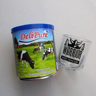 combo 5 lon sữa đặc có đường DELIPURE 1KG/lon tặng 1 ly thủy tinh cao cấp