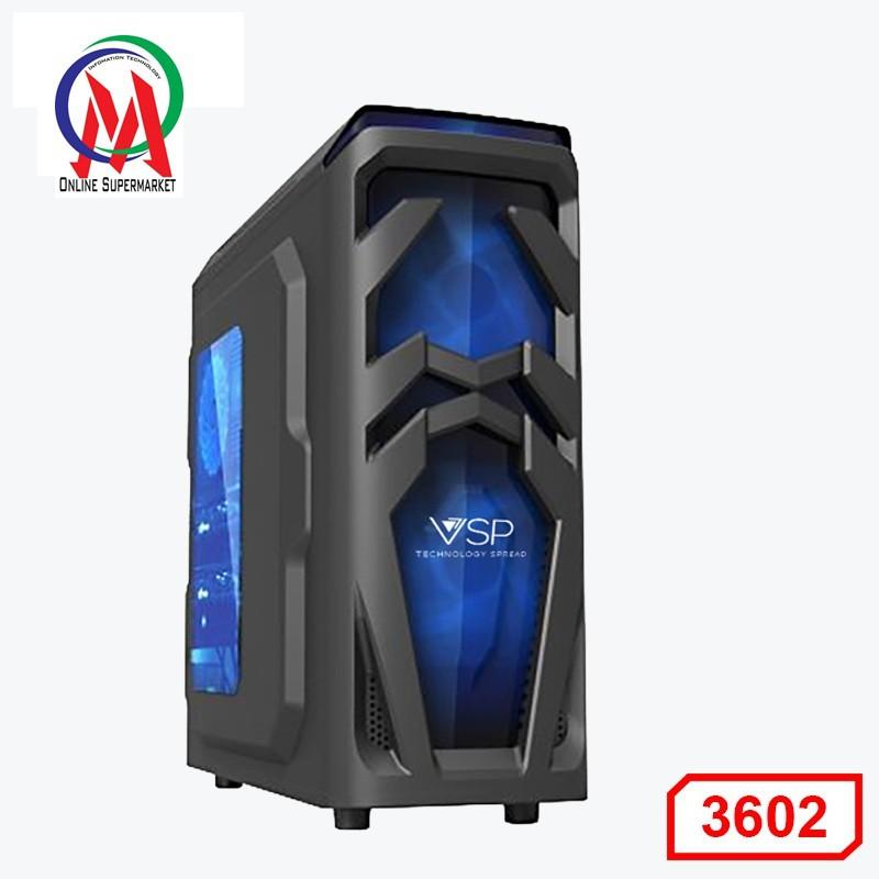 Vỏ Case GAMING CAO CẤP 3602 - Case VSP Game,Server (2 Fan 12-Led 12 bóng ) Nắp hông trong suốt