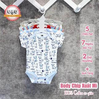 Set 5 Body Chip Cộc Tay Áo Liền Quần 100% Cotton Dày Nhiều Màu Kèm Móc Cho Trẻ Sơ Sinh Từ 0 Đến 12 Tháng Tuổi