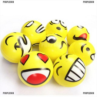 PURPLESUN Funny Smiley Face Anti Stress Reliever Ball ADHD Autism Mood Toy Squeeze Relief