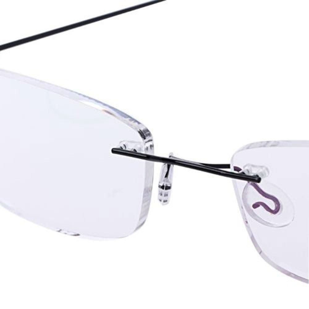 💜LAYOR💜 Health Care Reading Glasses Elder Memory Titanium Eyeglass Rectangular Ultralight Degree Spectacles Unisex Rimless/Multicolor